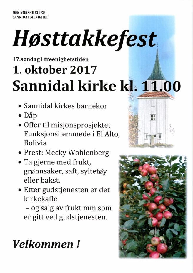 Høsttakkefest plakat 2017